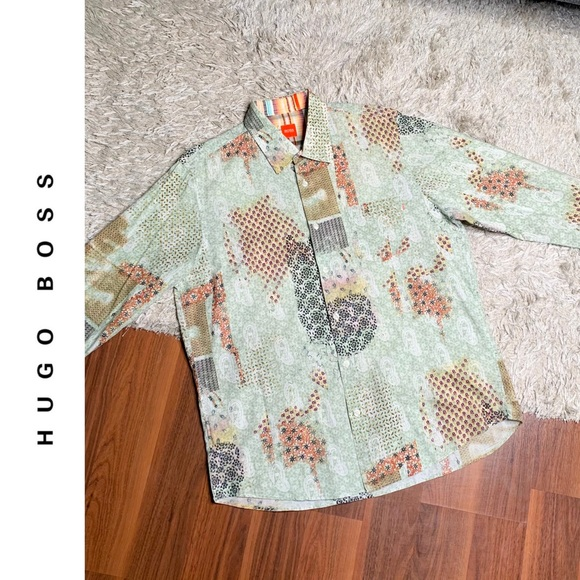 🆕 NWOT Hugo Boss Paisley Patchwork Button Down